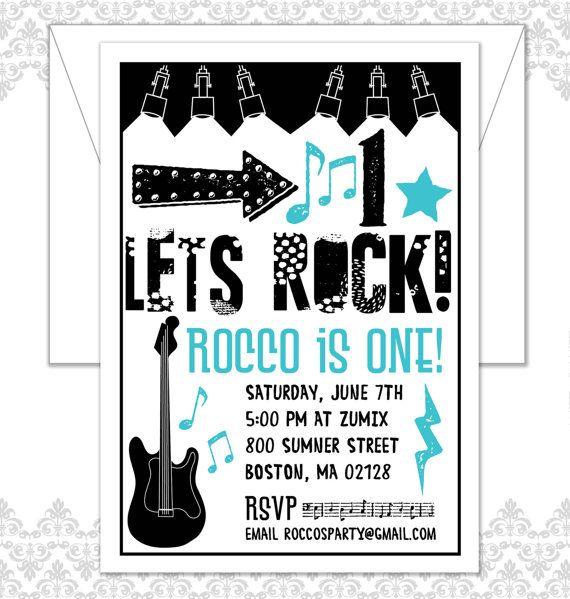 Rockstar Invite Rocker Birthday Rocker Party First Birthday
