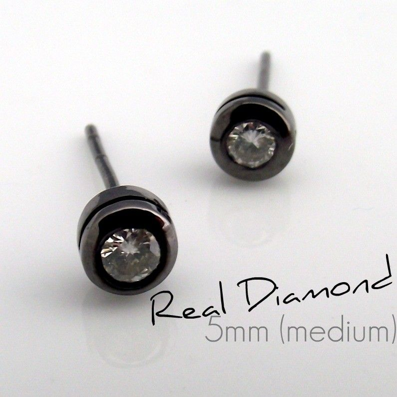 Mens Diamond Stud Earrings In A Size Medium Measuring Wide These For Men Are Made From Sterling Silver And Plated Black