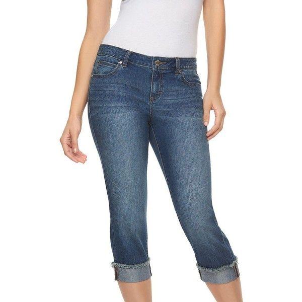 Petite Jennifer Lopez Frayed Cuffed Capri Jeans ($35) ❤ liked on ...