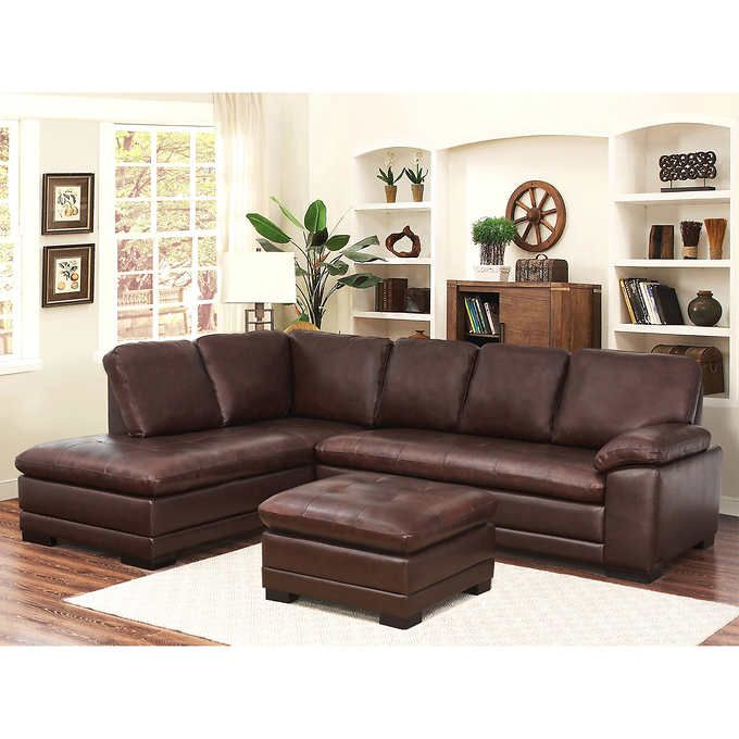 Top Grain Leather Sofa Costco: Metropolitan Top Grain Leather Sectional And Ottoman