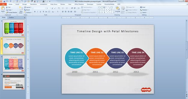 Creative Timeline PowerPoint Template with three unique slide - advertising timeline template