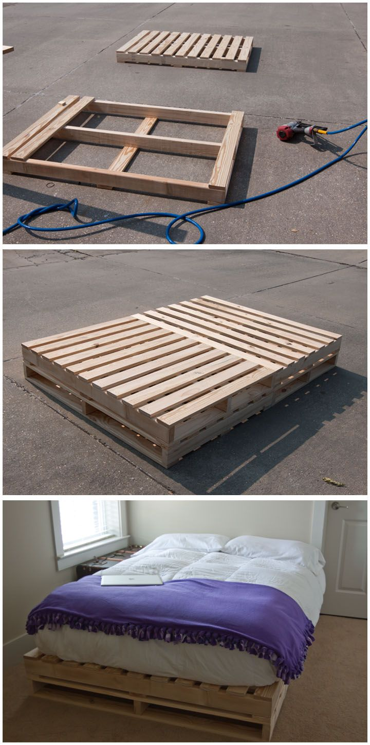 Bed frame my dad and I made to look like shipping pallets.