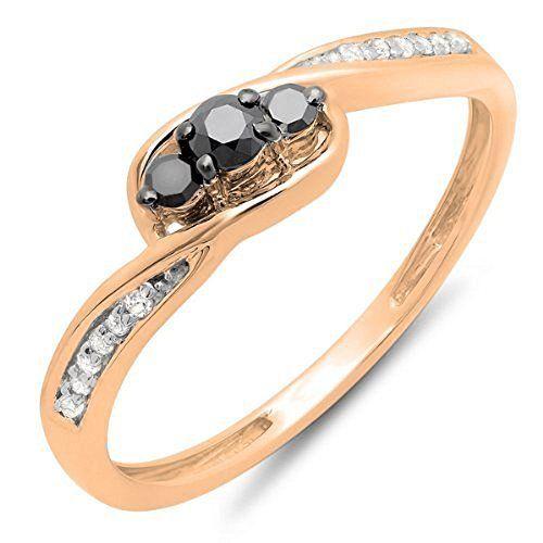 Damen Ring 0.25 Karat 10 Karat Rotgold Rund Schwarz Diamant