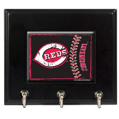 Cincinnati Reds MLB Wood Keyhook Rack - FREE SHIPPING $35.00
