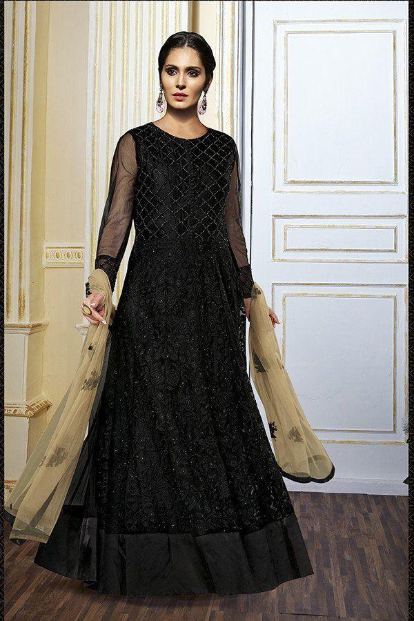 Black Color Net Fabric Anarkali Suit | Anarkali dress | Pinterest