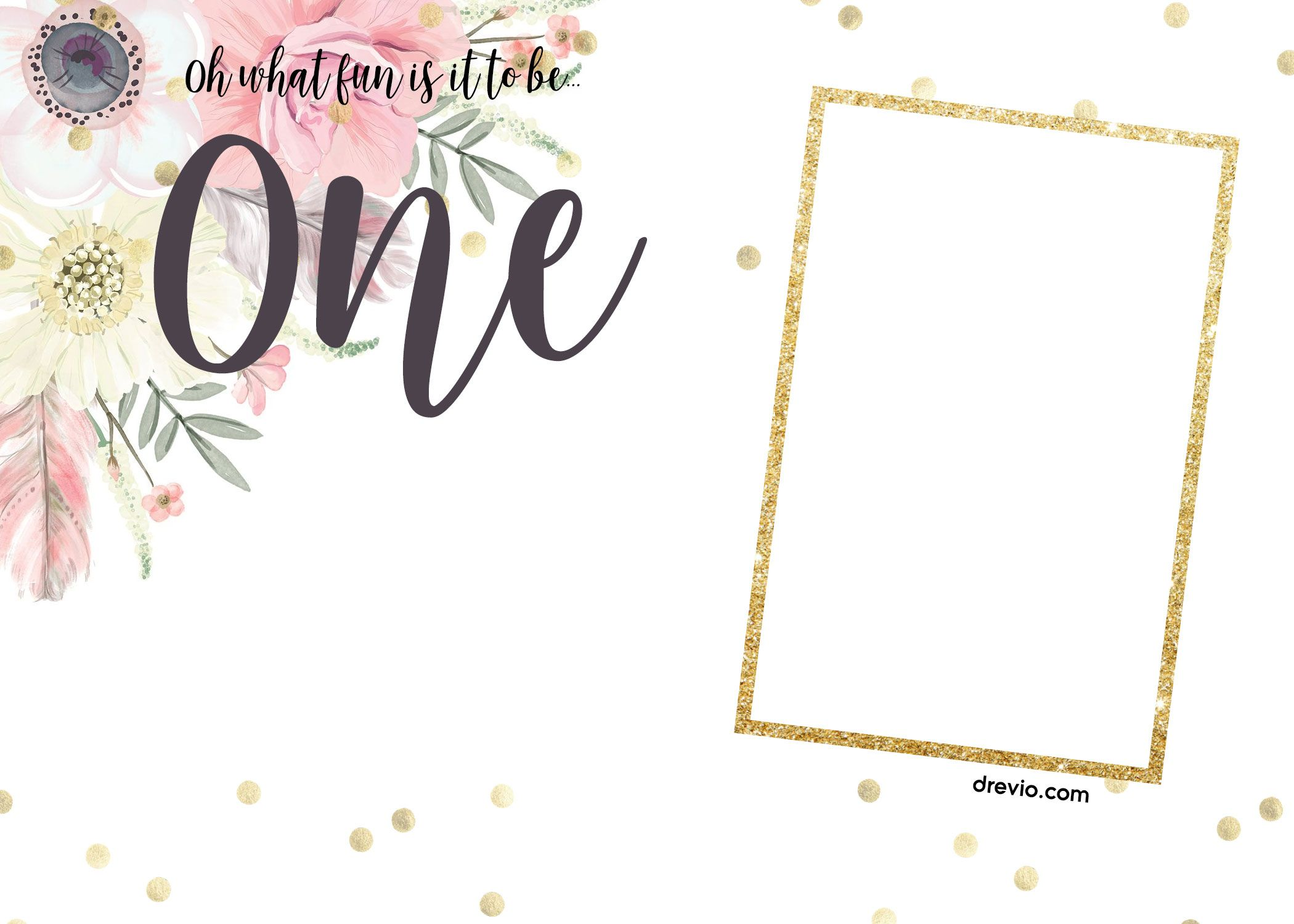 FREE First Boho Chic Birthday Invitation Templates First