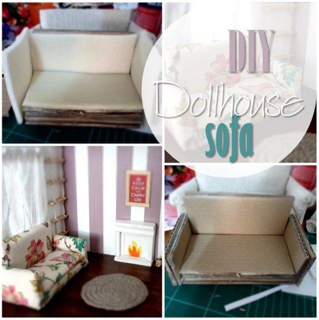 Dollhouse Sofa Cardboard Fabric Glue Gun Dolls Houses