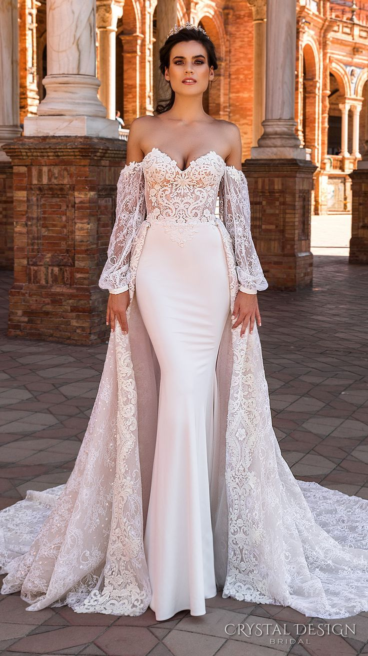Crystal design bridal long bishop sleeves sweetheart neckline