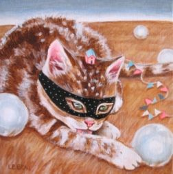 The Cat Burglar  5 x 5  acrylic on wood