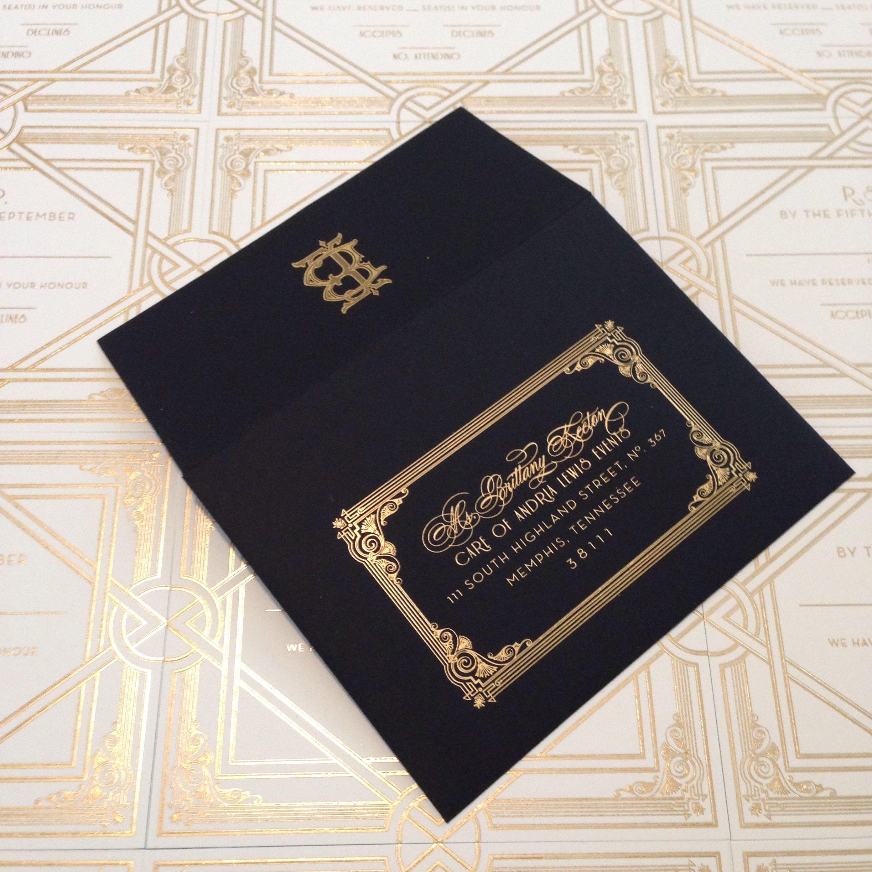 Custom black and gold Art Deco 20s invitation with black envelope by ECRU Stationery & Design
