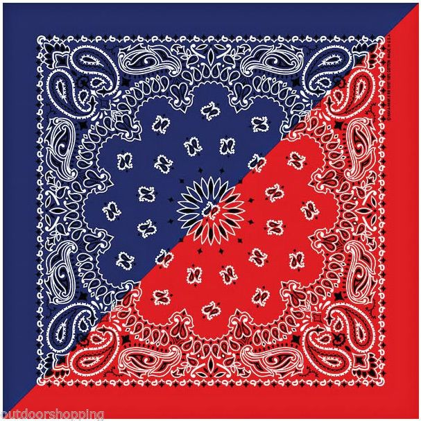 Navy Blue Red Split Paisley Bandana Made In The Usa