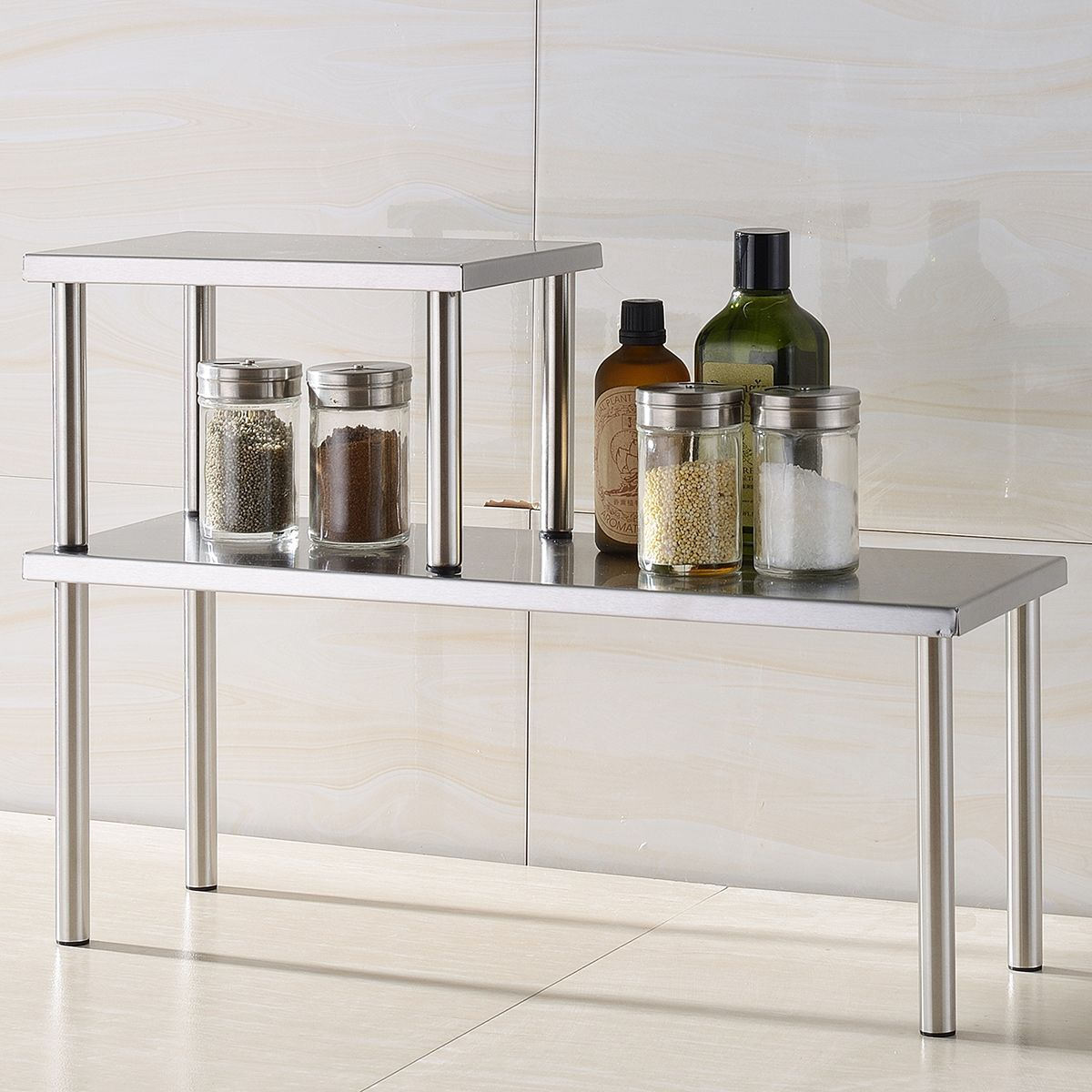 What\'s in Box: Stainless steel Corner Shelf 2 Tier, Stainless Steel ...