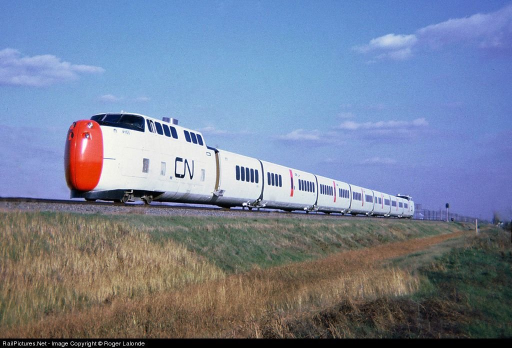 Canadian National S New United Aircraft Turbo Trains Flashes By