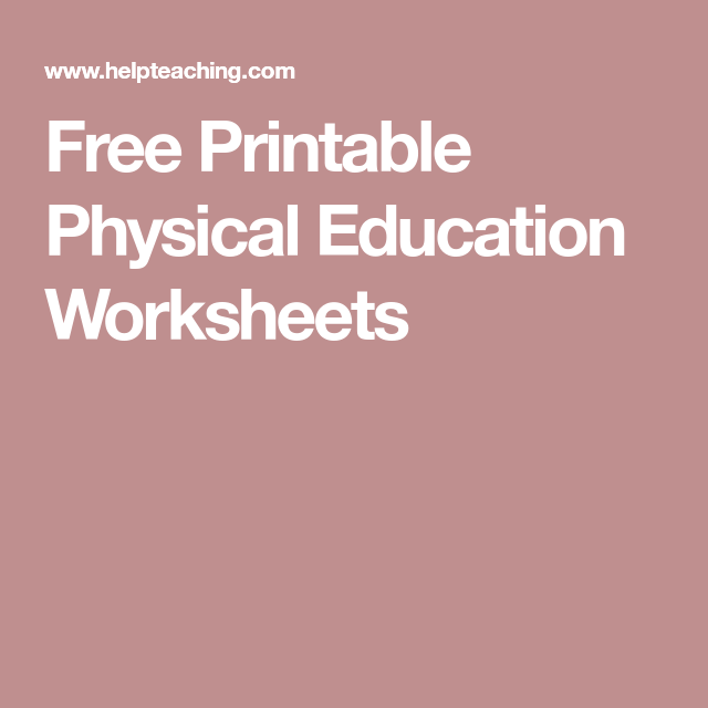photograph relating to Physical Education Printable Worksheets known as Free of charge Printable Actual physical Instruction Worksheets Healthful
