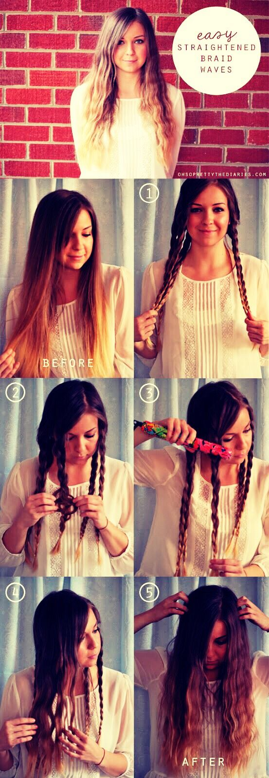 An easy way to get crimped hair fast is to braid it the straighten