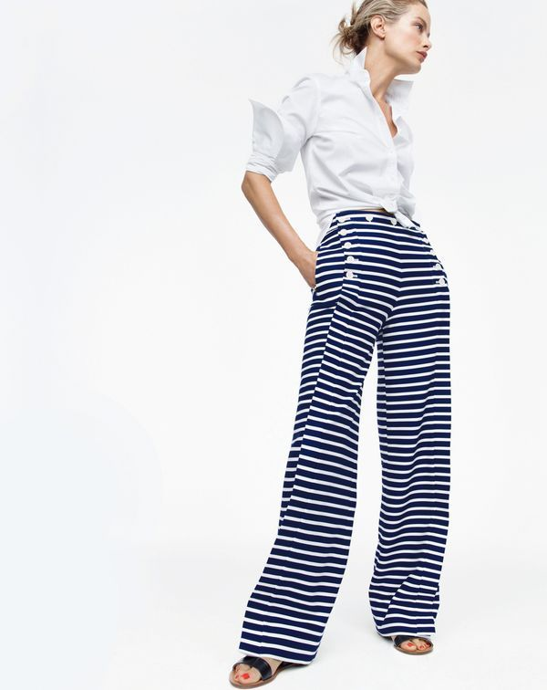 0d9444f1f013 Go for it in the J.Crew women's sailor pant in striped chino. These are  what you might call statement stripes.