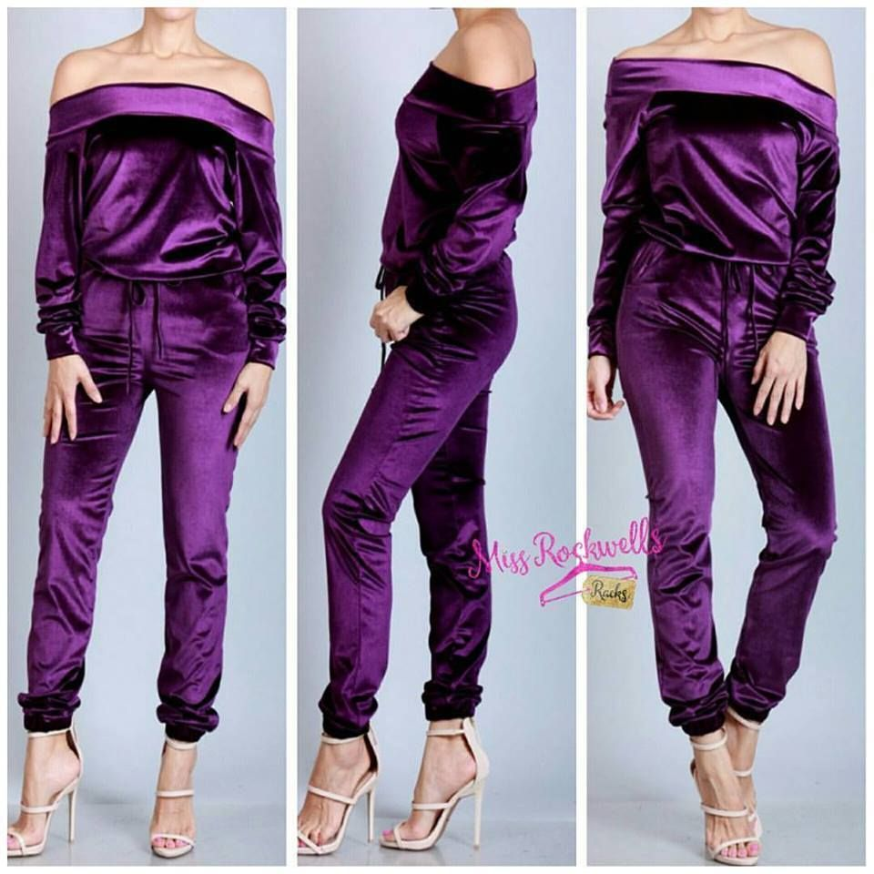 Preorder Boutique Romper S M L Purple Velvet Velour Off Shoulder
