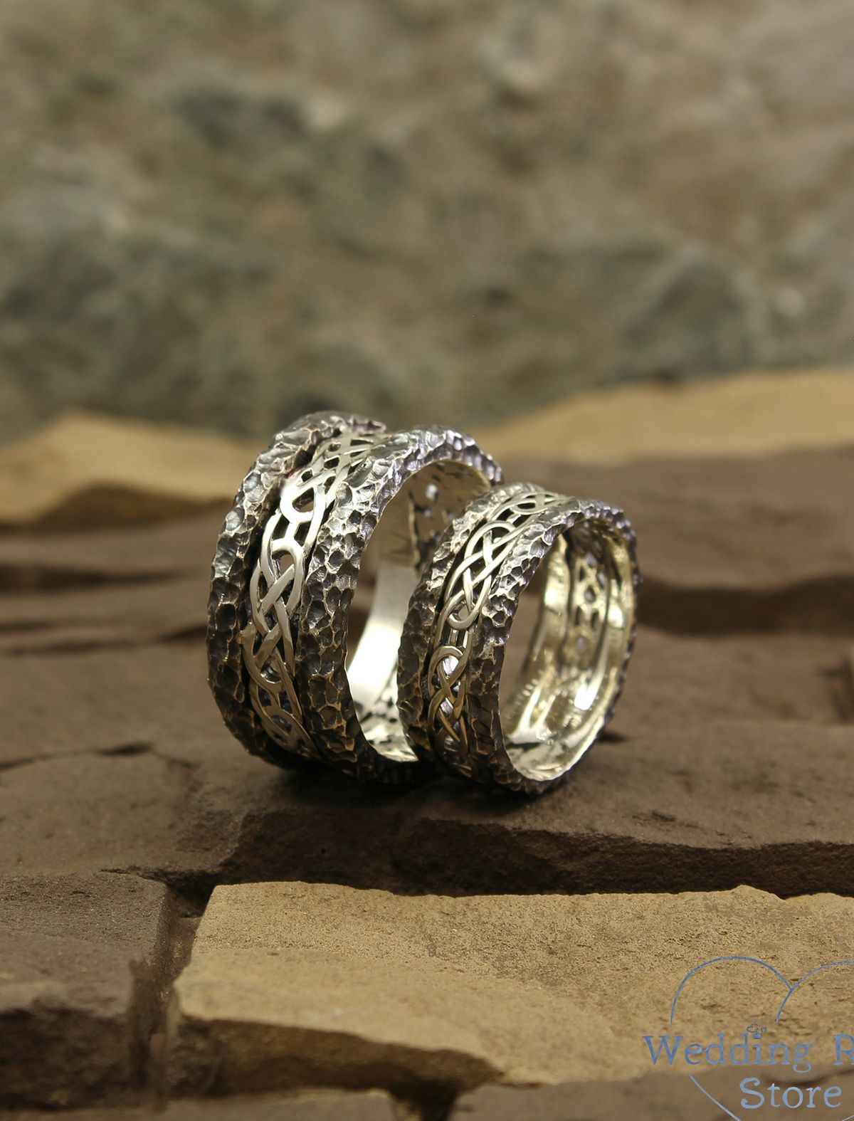 Men's hammered wedding rings in silver by
