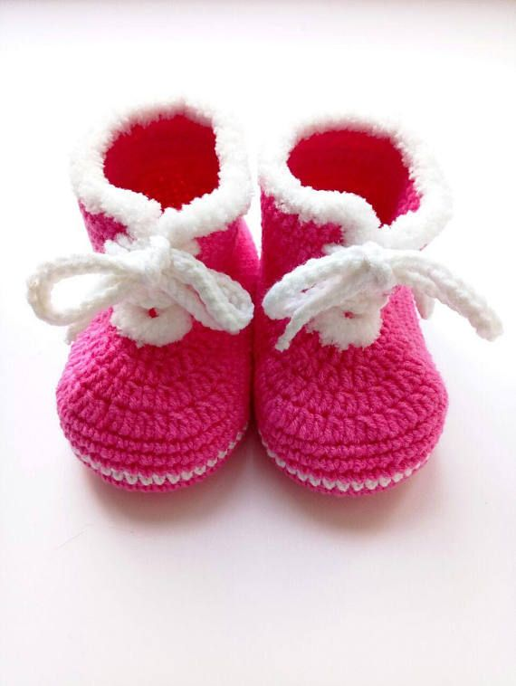 Pink Crochet Baby Boots Baby Shower Favors Knitted Baby Booties Baby  Handmade Shoes Winter Baby Clothes Baby Reveal Idea Baby Dress Shoes