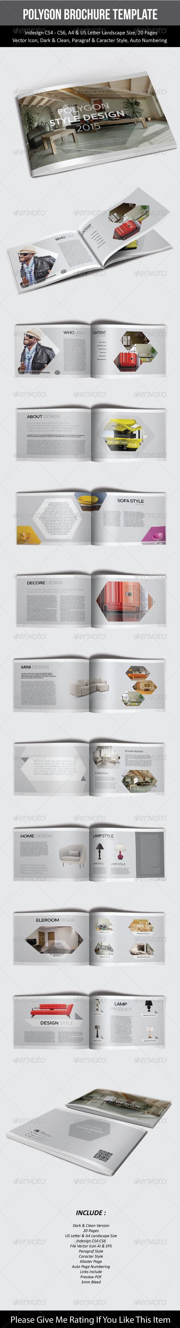Polygon Brochure Template u2014 InDesign INDD catalogs