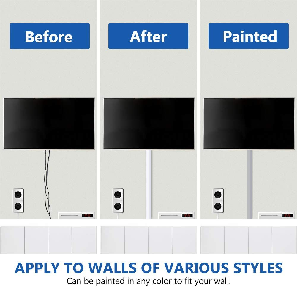 """157/"""" Cable Management Channel Cord Covers Wires Raceway Kit Wall Mount TV Home"""