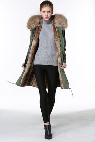 Real Rabbit Fur Lined Parka Coats for Women - London – MILA FURS
