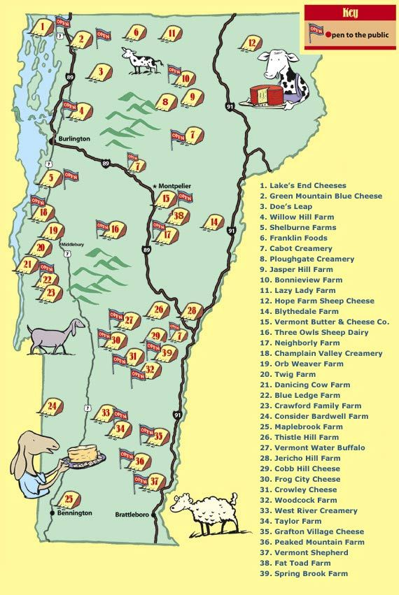 vermont cheese trail map | Vacation | Pinterest