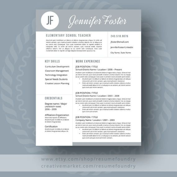 Teacher Resume Template The Jennifer  Job Stuff