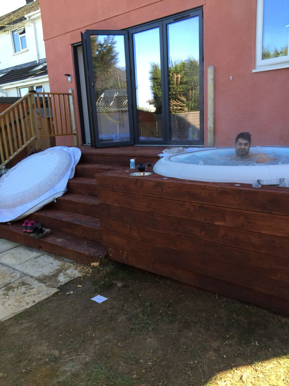 Finished And A Well Deserved Soak Inflatable Hot Tubs Deck