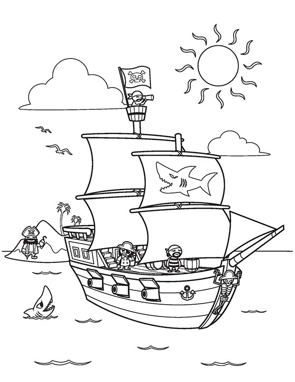 Pirate Ship And Its Crew On Clear Sea Coloring Page Kids Play Color Pirate Coloring Pages Lego Coloring Pages Printable Coloring Pages
