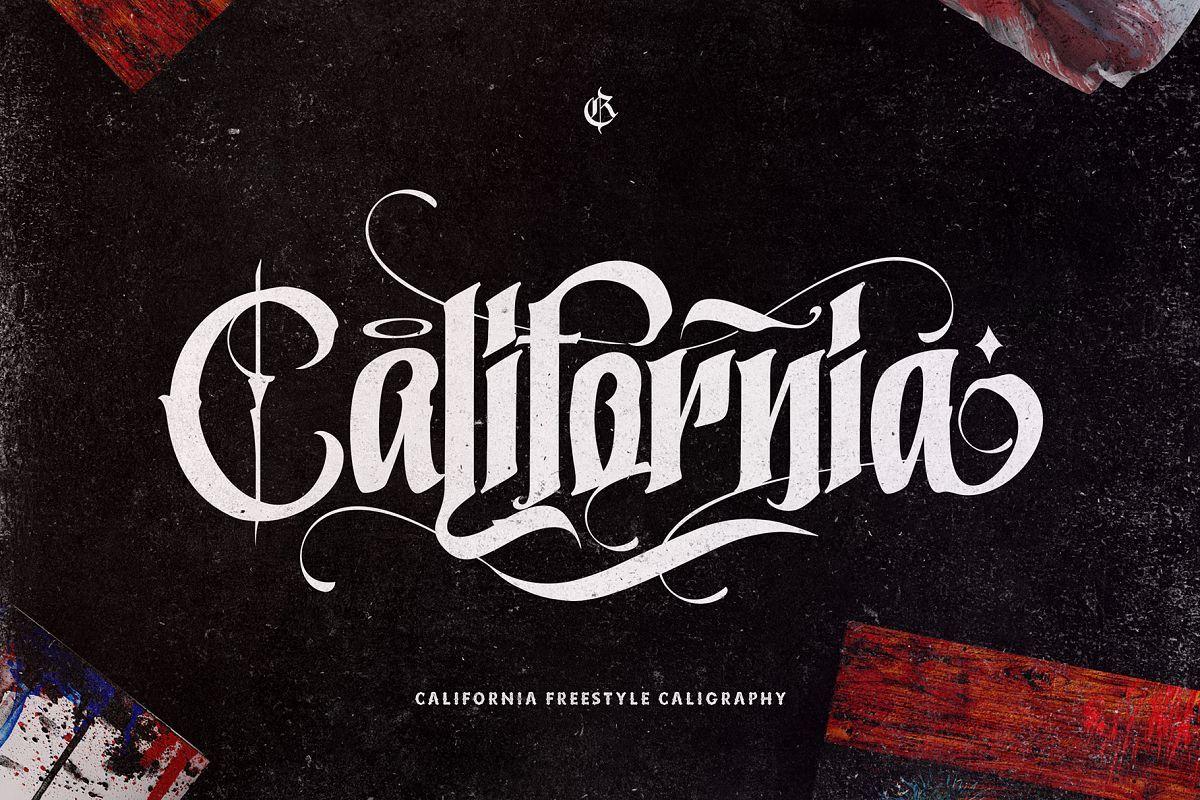 California 232614 logo font bundles gothic fonts
