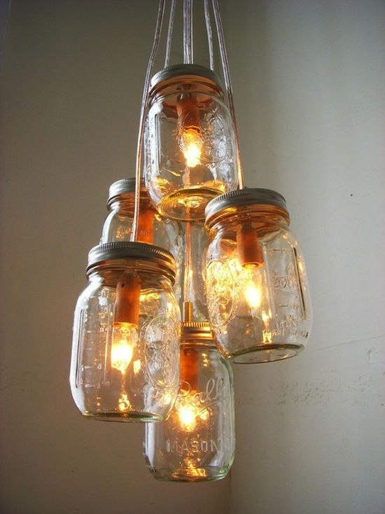 I Love Anything Involving Mason Jars This Would Be Super Cute If We Lived In The Country Mason Jar Chandelier Jar Chandelier Jar Lights