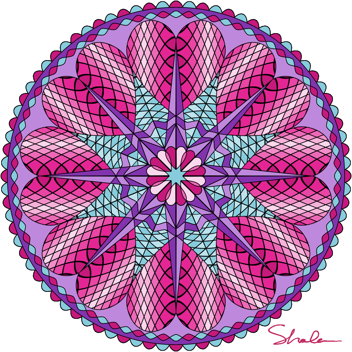 Valentine Mandalas- coloring pages | Mandalas, Mandala and Adult ...
