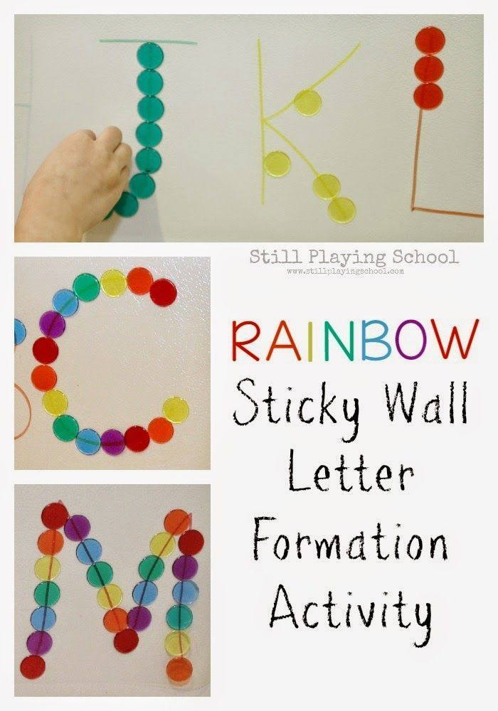 rainbow sticky wall letter formation activity