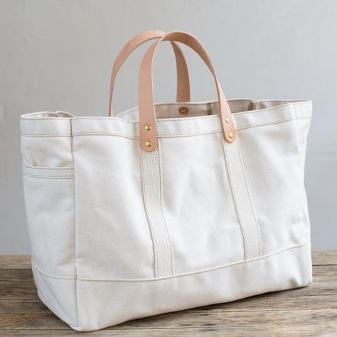 Canvas and Leather Tote in 2020 Leather tote, Bags, Tote bag