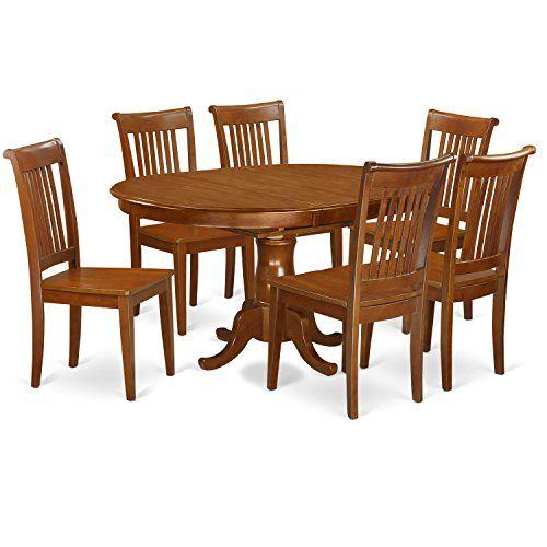 east west furniture port7-sbr-w 7-piece dining table set  https