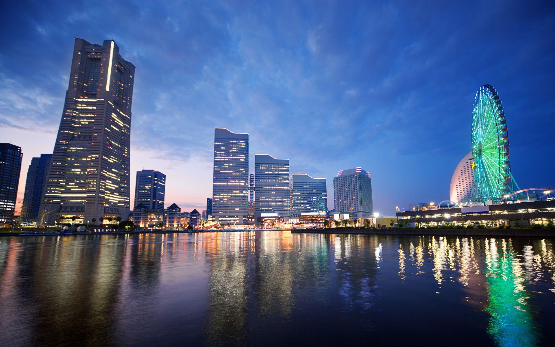 Download Sunset Yokohama Japan wallpaper HD Widescreen
