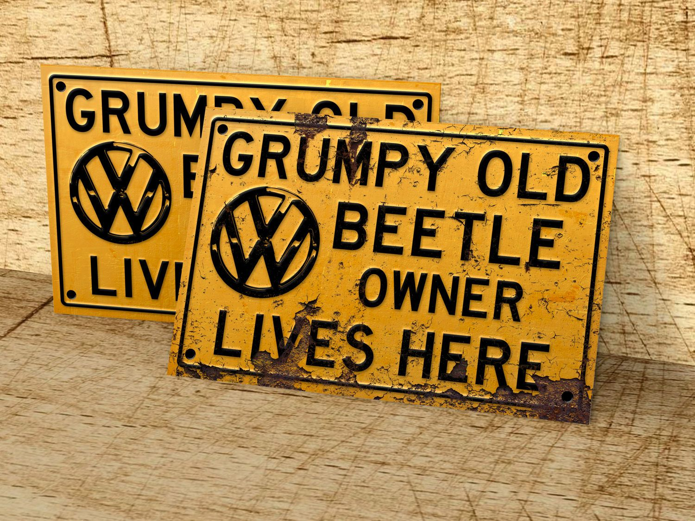 man cave Grumpy old VW Bus owner lives here sign for garage