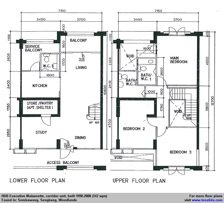 Hdb Executive Maisonette Floor Plan 142 Sqm Floor Plans How To Plan Maisonette