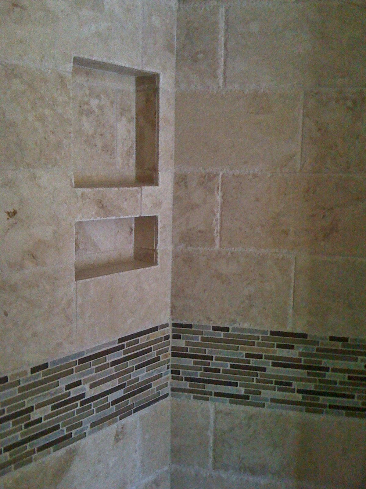 6x12 chiseled edge travertine field tile with stone glass and 6x12 chiseled edge travertine field tile with stone glass and porcelain accent strip in master dailygadgetfo Gallery