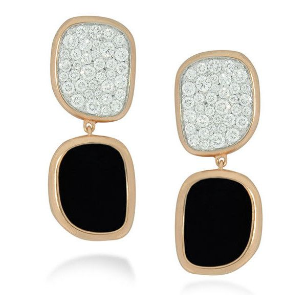 Roberto Coin Black Jade 18kt Rose Gold Diamond Earrings found on Polyvore