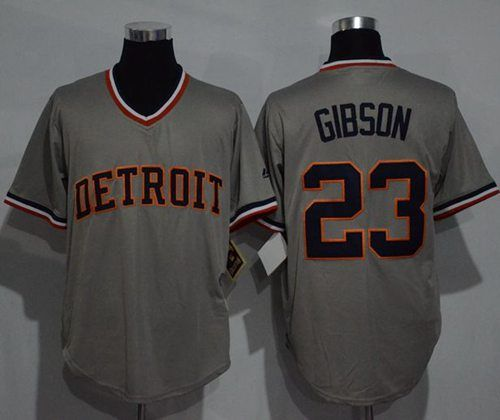 tigers 23 kirk gibson grey cooperstown throwback stitched mlb jersey. detroit