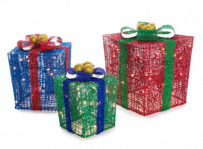 christmas light up glittering mesh gift boxes 3 pieces
