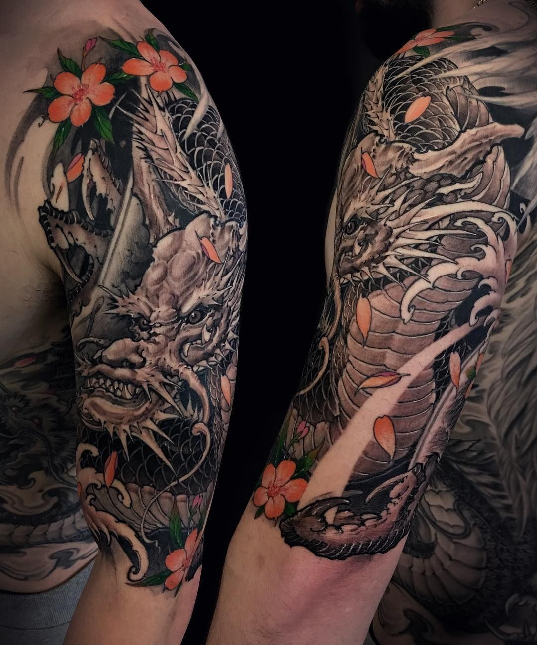 4 368 Likes 44 Comments Tony Hu Tonyhu Chronicink On Instagram Dragon Half Sleeve Fro Half Sleeve Tattoos Black Dragon Sleeve Tattoos Dragon Tattoo Arm