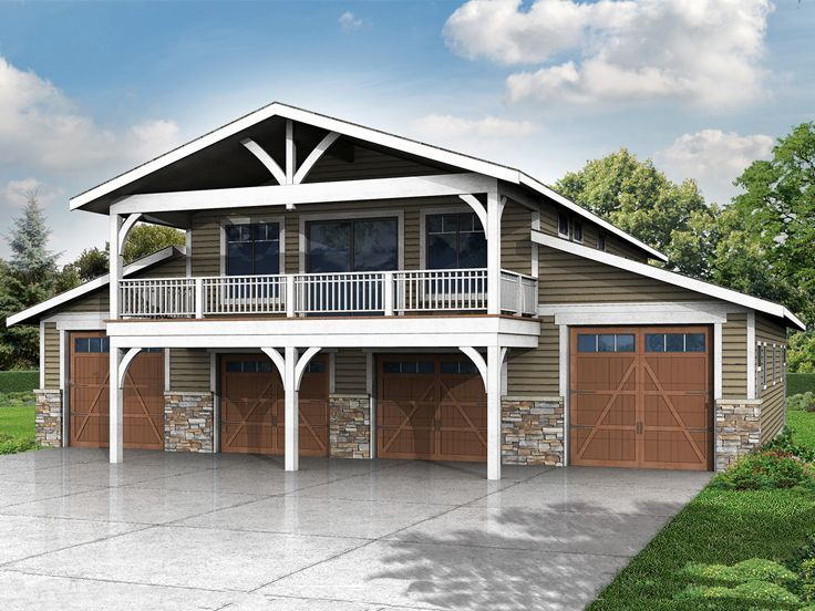 6 Car Garage Plan 051g 0075 Apartment Above Leftmost Bay Could Be A Rental E If Not Needed