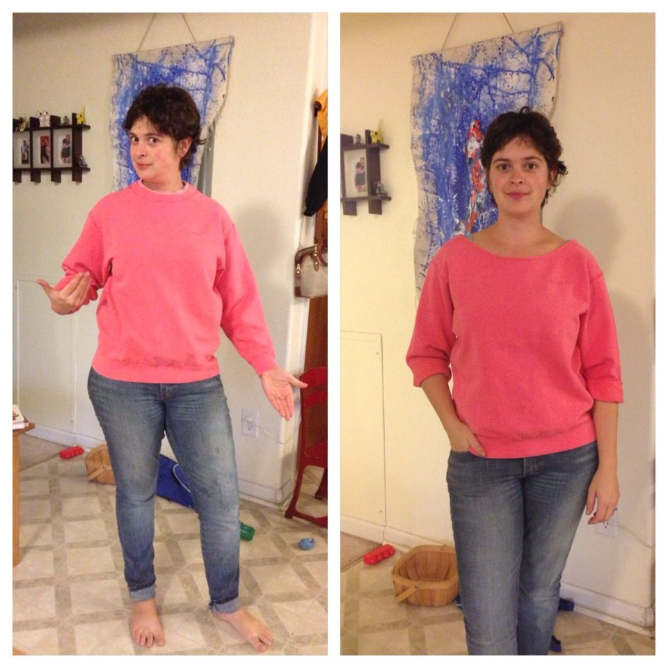 Knit Nat Quick Craft How To Undorkify A Sweatshirt Diy Sweatshirt Refashion Sweatshirt Refashion Upcycle Clothes [ 960 x 960 Pixel ]