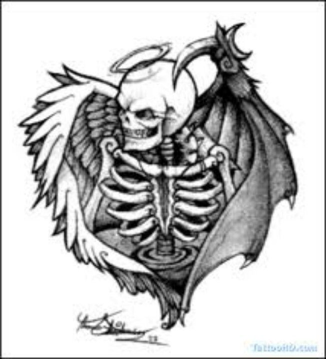 Image Result For Angel And Devil Tattoos Design Ideaa