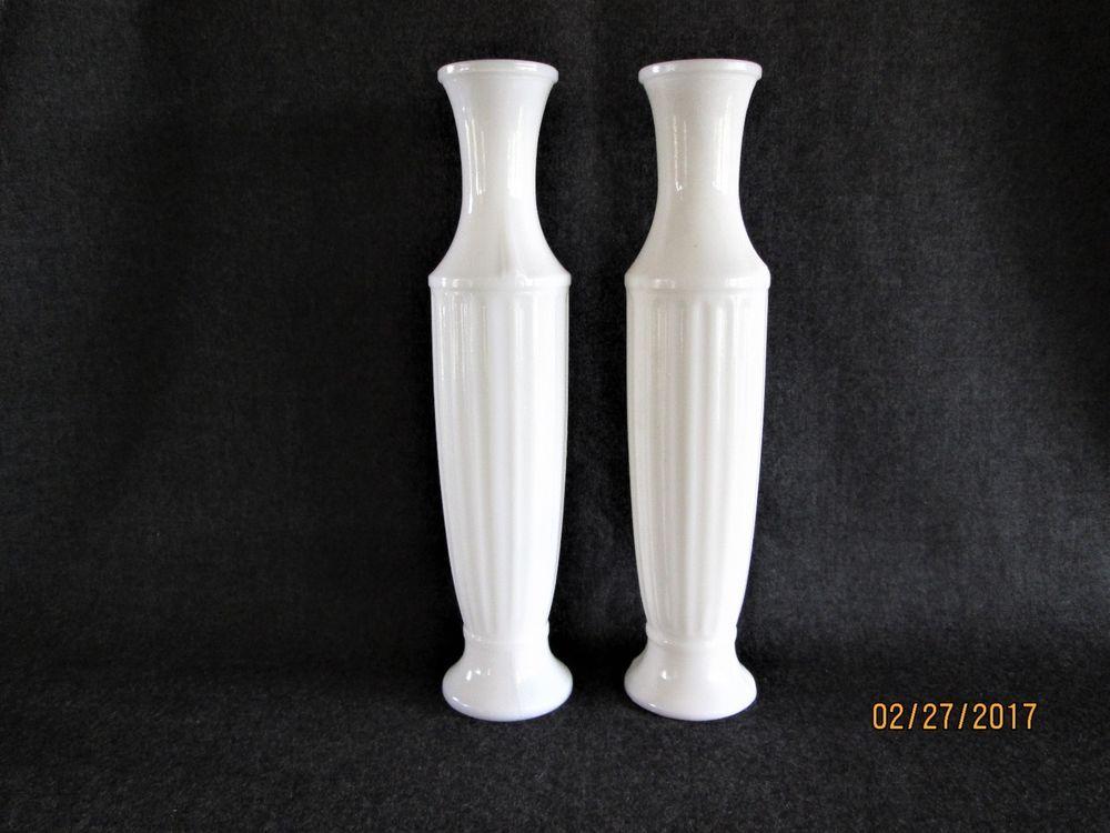 Set Of 2 Vintage 10 Tall Milk Glass Bud Vases Milk Glass Flea