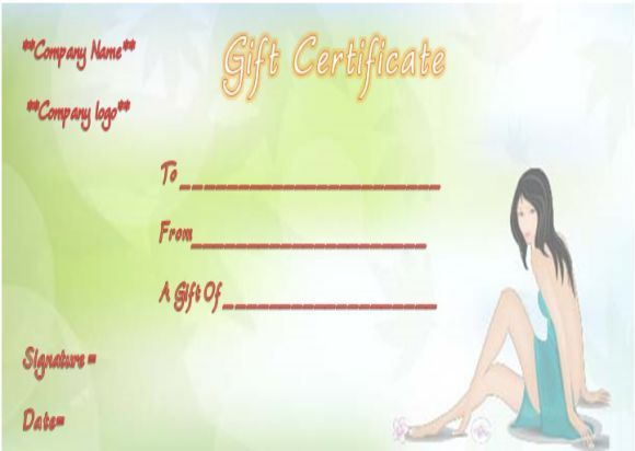 Spa Day Gift Certificate Templates Spa Gift Certificate Templates