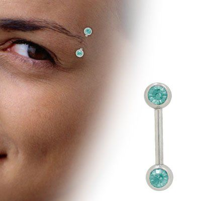 16 Gauge 8mm 925 Sterling Silver Unique Eyebrow Ring With Jewel Ye39 Augenbrauenring